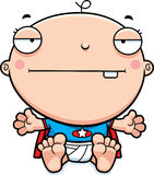 Cartoon Superhero Baby Bored Royalty Free Stock Image