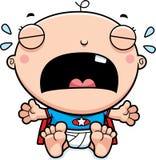 Cartoon Superhero Baby Crying Stock Image