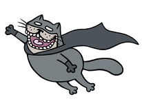 Cartoon superhero bat cat in a mask is flying to save humanity.  vector illustration Stock Image
