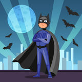 Cartoon superhero in black cape. Man in dark hero costume Stock Image