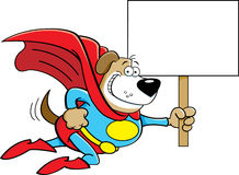 Cartoon superhero dog with a sign. Stock Photo