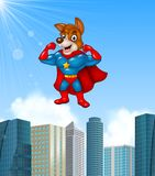 Cartoon superhero dog with skyscraper background Stock Images