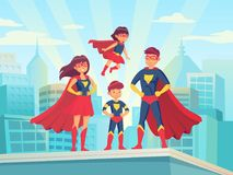 Cartoon superhero family. Mom dad and childrens in superheroes costumes. Super parents and kids heroes on cityscape royalty free illustration