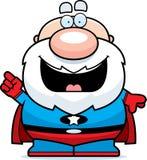 Cartoon Superhero Grandpa Idea. A cartoon illustration of a superhero grandpa with an idea royalty free illustration