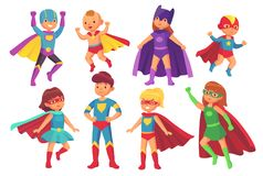 Cartoon superhero kids characters. Joyful kid wearing super hero costume with mask and cloak. Children superheroes. Cartoon superhero kids characters. Joyful kid royalty free illustration