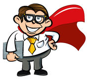 Cartoon Superhero office nerd. With cape and laptop Stock Images