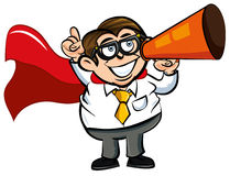 Cartoon Superhero office nerd. With cape and megaphone Stock Image