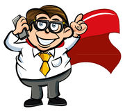 Cartoon superhero office worker. With a mobile phone Stock Images