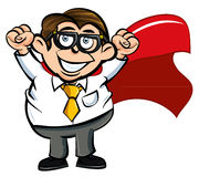 Cartoon superhero office worker. Happy with his fists in the air Royalty Free Stock Image