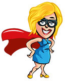 Cartoon superhero office worker lady. Cartoon superhero lady office worker with glasses Royalty Free Stock Photography