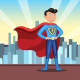 Cartoon superhero in red cape. Man in colourful hero costume. On light city background. Vector illustration Stock Illustration