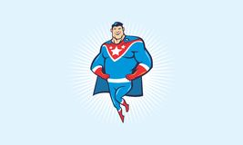 Cartoon superhero. He`s not just a superhero, he`s superstar superhero with stars in his chest Stock Image