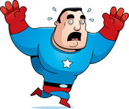 Cartoon Superhero Scared. A cartoon superhero sweating and running scared Royalty Free Stock Photos