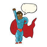 Cartoon superhero with speech bubble Stock Photos