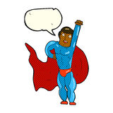 Cartoon superhero with speech bubble Stock Images