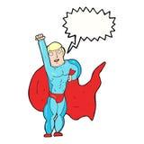 Cartoon superhero with speech bubble Royalty Free Stock Photography