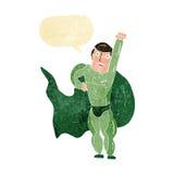 Cartoon superhero with speech bubble Stock Photography