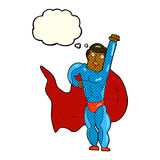 Cartoon superhero with thought bubble Royalty Free Stock Images