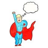 Cartoon superhero with thought bubble Royalty Free Stock Photos
