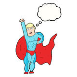 Cartoon superhero with thought bubble Stock Photography