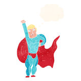 Cartoon superhero with thought bubble Stock Image