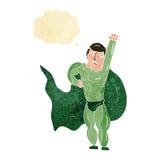 Cartoon superhero with thought bubble Royalty Free Stock Photo