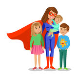 Cartoon superhero woman in red cape, mother superhero Stock Images