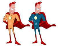 Cartoon superheroes. Two muscular cartoon superheroes with clocks, white background stock illustration