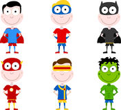 Cartoon Superheros. An illustrated set of 6 different cartoons of superheros, isolated on white background Stock Image