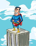 Cartoon superman on a building top Stock Photo