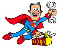 Cartoon Superman handyman. Cartoon caricature of handyman dressed in Superman costume with tool box marked with DIY text graphic Stock Photography