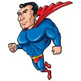 Cartoon Superman with huge chest. He is isolated on white Royalty Free Stock Image