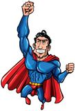Cartoon Superman with huge chest. Cartoon Superman is isolated on white Royalty Free Stock Photos
