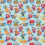 Cartoon superman seamless pattern. Illustration Royalty Free Stock Photos