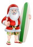 Cartoon Surf Santa. Christmas cartoon of Santa giving a thumbs up in his board shorts and sandals holding a surf board Royalty Free Stock Images
