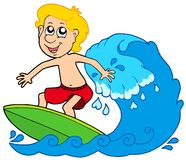 Cartoon surfer boy Royalty Free Stock Photos