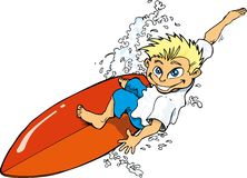 Cartoon surfer boy riding a surf board Royalty Free Stock Photography