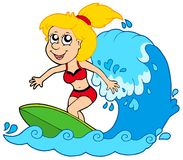 Cartoon surfer girl Stock Photos