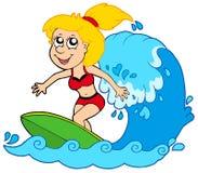 Cartoon surfer girl. Vector illustration Stock Photos