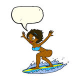 cartoon surfer girl with speech bubble Royalty Free Stock Image