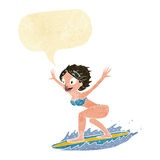cartoon surfer girl with speech bubble Royalty Free Stock Photo