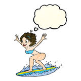 cartoon surfer girl with thought bubble Royalty Free Stock Photos