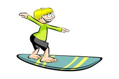 Cartoon surfer isolated on white Stock Photography