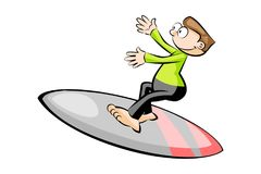 Cartoon surfer isolated on white Royalty Free Stock Photos