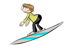 Cartoon surfer isolated on white Stock Images