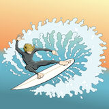 Cartoon surfer makes cutback turn on wave Royalty Free Stock Images
