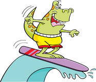 Cartoon surfing dinosaur royalty free illustration