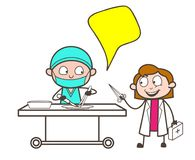Cartoon Surgeon Doctor with Female Assistant Vector Illustration Royalty Free Stock Photo