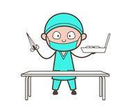 Cartoon Surgeon Holding a Scissors and Tool Box Vector Stock Photography