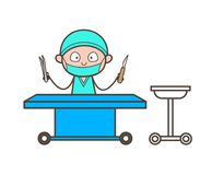 Cartoon Surgeon with Medical Equipments in Operation Theater Vector. Design Stock Photography